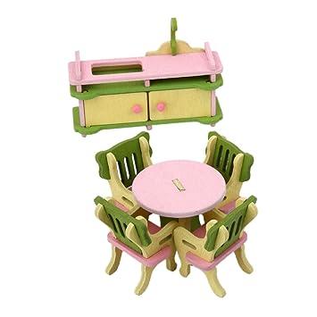 Amazon.es: Casas de Muñecas Muebles en Miniatura Comedor Cocina ...