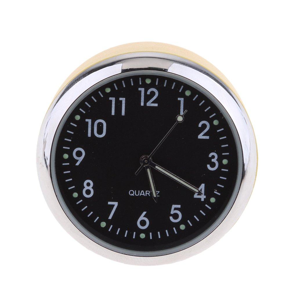 High Accuracy Car Dashboard Clock Classic Table Mini Quartz Clock Car Onboard Small Round Luminated Clock Homyl Car Clock Size: 40 x 40 x 30 mm - yellow +Black