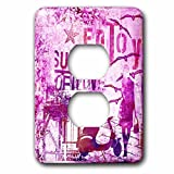 3dRose Andrea Haase Art Illustration - Illustration Urban Style With Woman And Motor scooter And Text In Pink - Light Switch Covers - 2 plug outlet cover (lsp_268459_6)