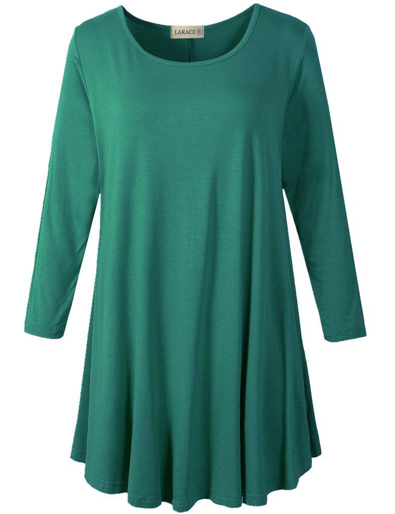 LARACE Women 3/4 Sleeve Tunic Top Loose Fit Flare T-Shirt(3X, Deep Green) by LARACE (Image #1)
