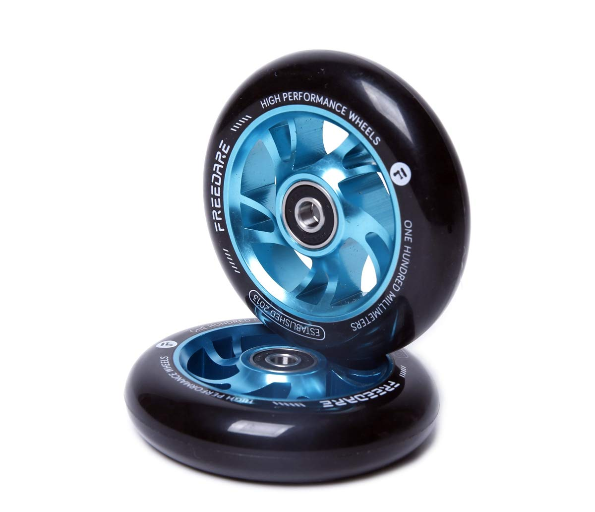 FREEDARE Scooter Wheels 100mm Pro Stunt Scooter Replacement Wheels with ABEC Bearings(Blue, Set of 2) by FREEDARE