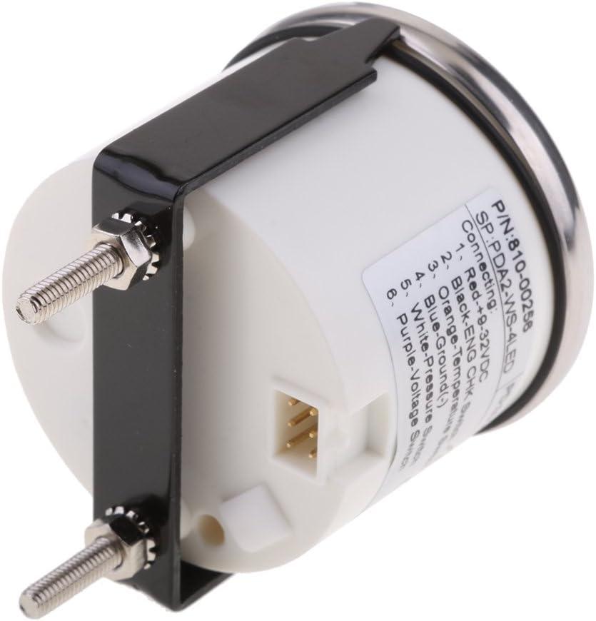 Homyl 52mm 2 4 LED Alarm Gauge Volt Oil Temp CHK ENG Indicator Meter Black Chrome