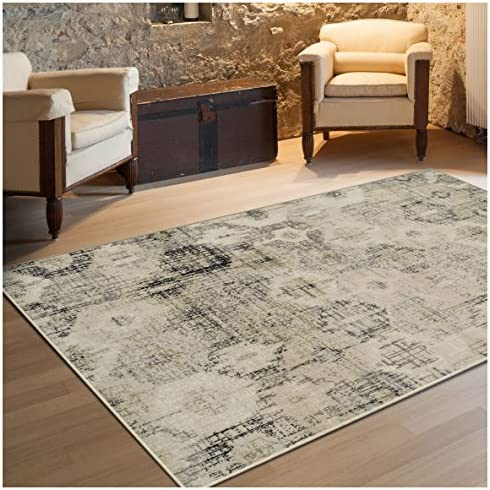 Superior Arabella Collection Area Rug, 8mm Pile Height with Jute Backing, Vintage Distressed Medallion Pattern, Fashionable and Affordable Woven Rugs – 5 x 8 Rug, Beige