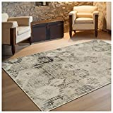 Superior Arabella Collection Area Rug, 8mm Pile Height with Jute Backing, Vintage Distressed Medallion Pattern, Fashionable and Affordable Woven Rugs – 5′ x 8′ Rug, Beige For Sale