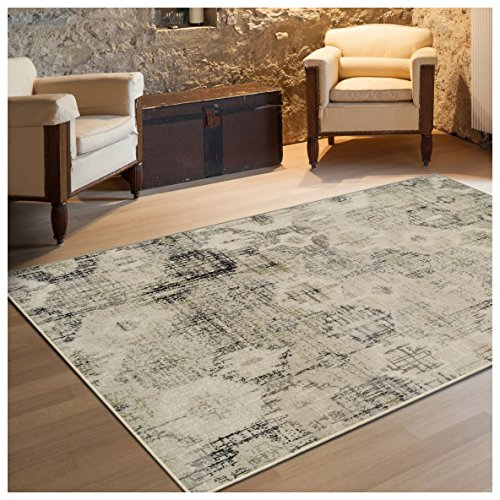 Superior Arabella Collection Area Rug, 8mm Pile Height with Jute Backing, Vintage Distressed Medallion Pattern, Fashionable and Affordable Woven Rugs - 5' x 8' Rug, Beige