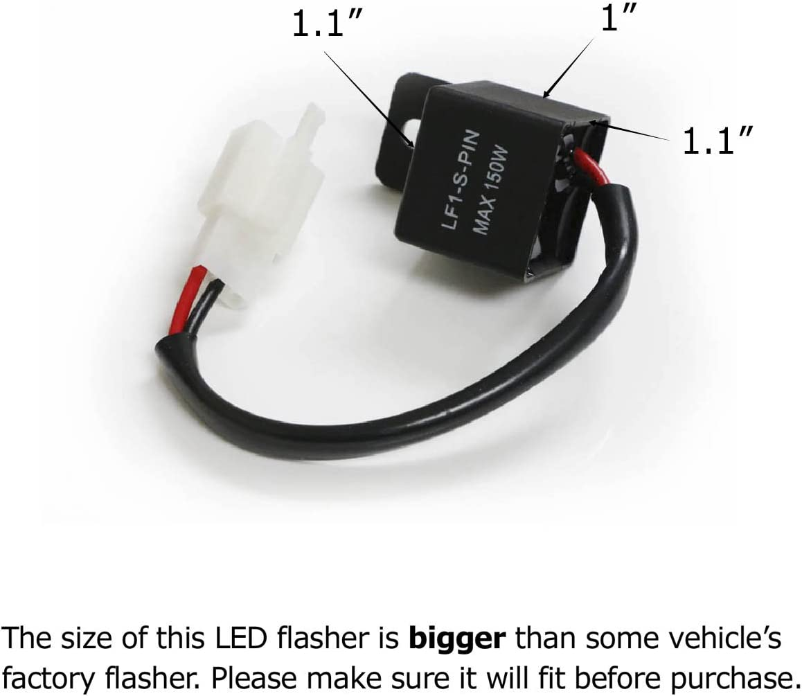 2-Pin Electronic LED Flasher Relay Fix For Motorcycle//Bike LED Turn Signal Bulbs Hyper Flash//Rapid Blink Issues iJDMTOY 1