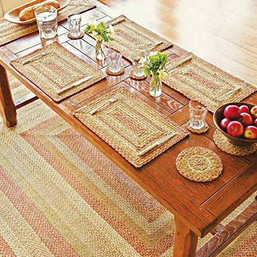 Oval Jute Braided Rug – All Natural Fiber 5x8 Area Rug, Earthy Rugs Made with Natural Jute Twine – A Reversible Rug for Rustic Home Décor – Homespice Natural Oval Jute Rug 5x8 with Red, Green, & Tans (Room Living Sustainable Furniture)