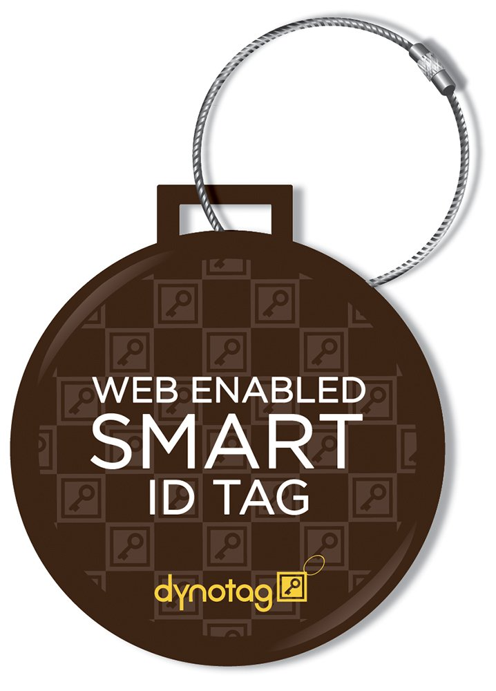 Dynotag Web Enabled Smart Deluxe Steel Luggage ID Tag & Braided Steel Loop, with DynoIQ & Lifetime Recovery Service (Brown)