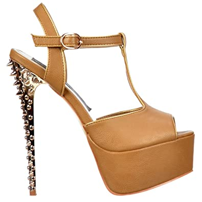 1de6a7950 Onlineshoe Women s T Bar Platform Stiletto Sandal Spiked Heel Pump UK6 -  EU39 - US8 -
