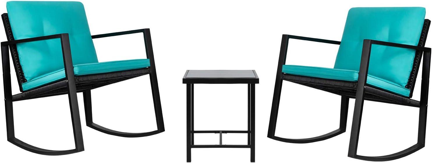 Greesum GS-3RRCSBU 3 Pieces Patio Furniture Set, Glass Coffee Table, Blue