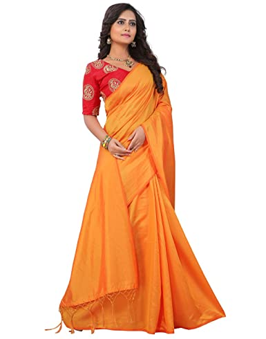 a11095fc95992 e-VASTRAM Womens Plain Soft Art silk Tassel Saree With Unstitched  Embroidered Contrast Blouse(SANAY Yellow)  Amazon.in  Clothing   Accessories