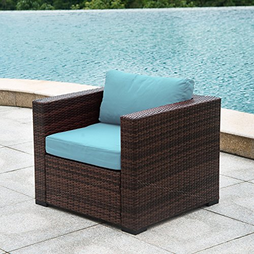 AURO Patio Wicker Single Chair with Water Resistant Blue Olefin Cushion   Outdoor Furniture All Weather Resin Rattan Arm Chair Poolside,Porch,Garden (1 Piece)