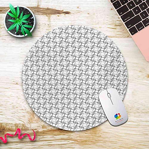 (Zhengyun Mouse Pad Non-Slip Rubber Base Geometric,Minimalist Pattern with Intersecting Squares Grayscale Lattice Mosaic,Black Pale Grey White Mouse Pad for Desktops, PC and Laptops 20CM3MM)