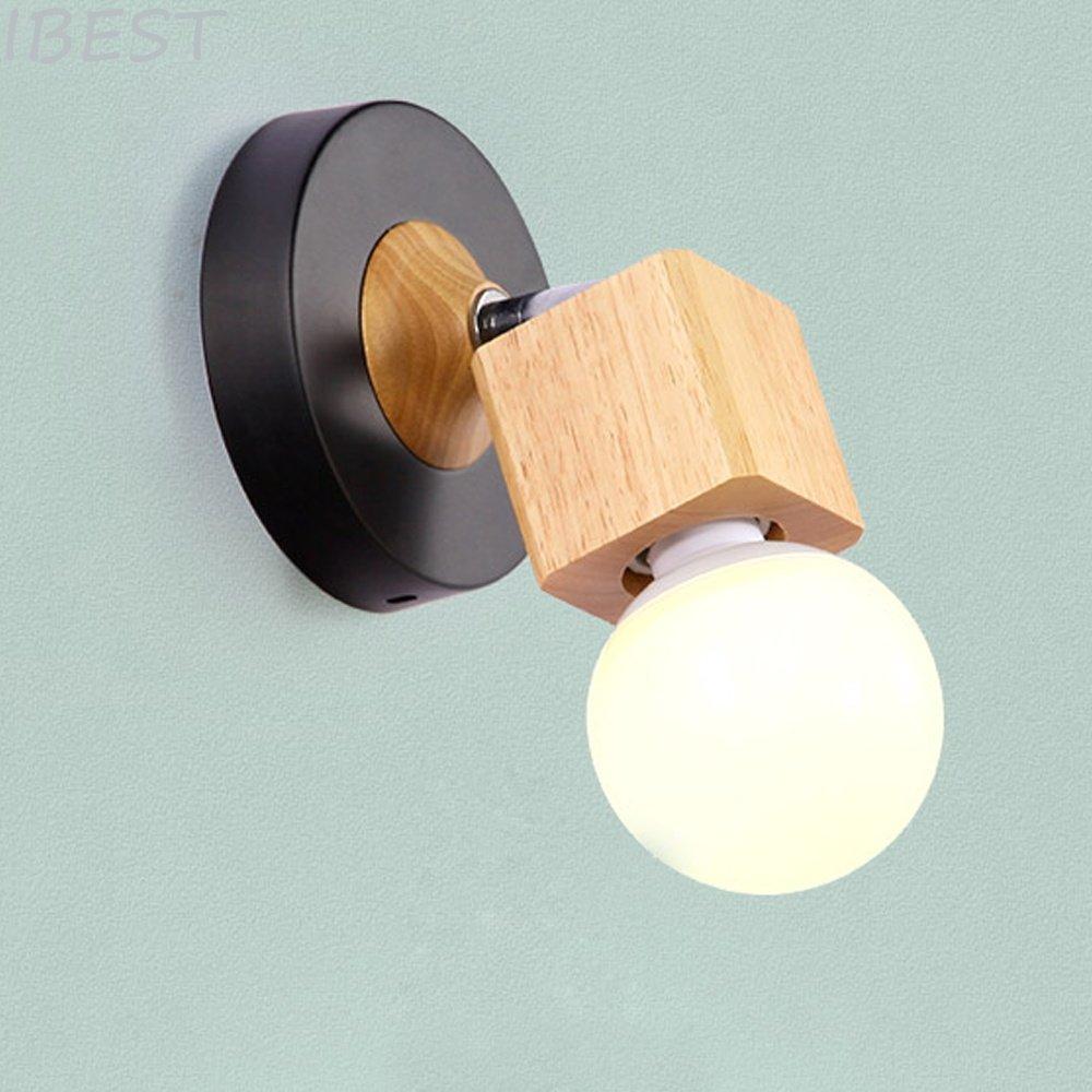 Moderne Applique E27 Mur Lampe Bois Nuit Lumière Noir Mur Lampe De Chevet Lampe Plafonnier Salon Lampe Chambre Lampe Décoration 12x14 cm IBEST