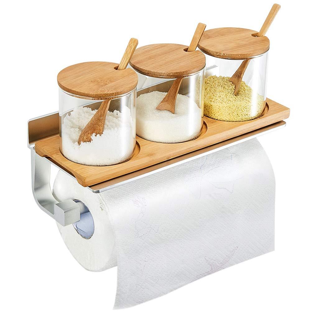 TRUSTLIFE Kitchen Roll Dispensers Paper Towel Holder Aluminum No Damage,Silver