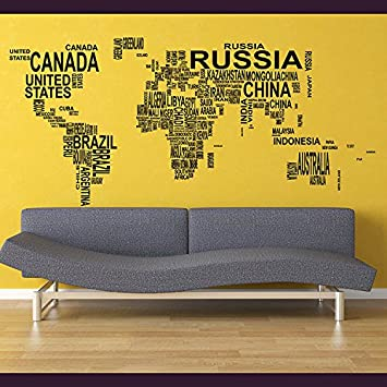 Happywallz World Map Wall Sticker / Map Of The World Wall Decal / 3D ...