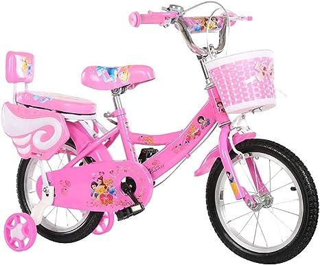 MLSH Bicicleta for niños con Ruedas de Entrenamiento, 12 14 16 18 Pulgadas 2-7 años de Edad Chicas Bicicletas Deportivas al Aire Libre, Bicicleta for niños con 85% montado, Rosa: Amazon.es: Deportes y aire libre