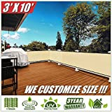 ColourTree 3′ x 10′ Balcony Railing Shade Fabric Deck Fence Privacy Screen Tarp Plant Greenhouse Netting Mesh Cloth Beige – Commercial Grade 170 GSM Heavy Duty 3 Years Warranty CUSTOM SIZE AVAILABLE Review