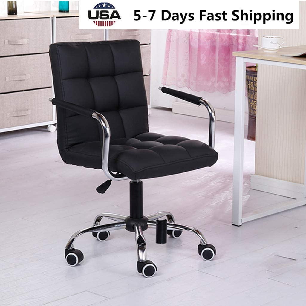 Black Desk Chairs with Wheels Armrests