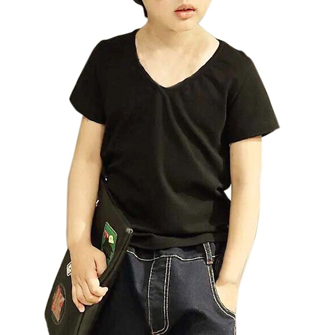 Clode for 1-6 Years Old Summer Children Kids Boy Cotton Short Sleeve Tops V Neck T-Shirt Blouses Tees