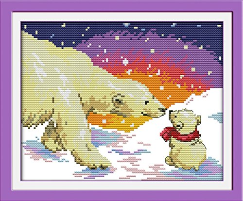 CaptainCrafts New Stamped Cross Stitch Kits Preprinted Pattern Counted Embroidery Starter Kits for Beginner Kids and Adults - Snow Bear Maternal Love - DIY Artwork Needlecrafts (STAMPED) Bear Cross Stitch Pattern