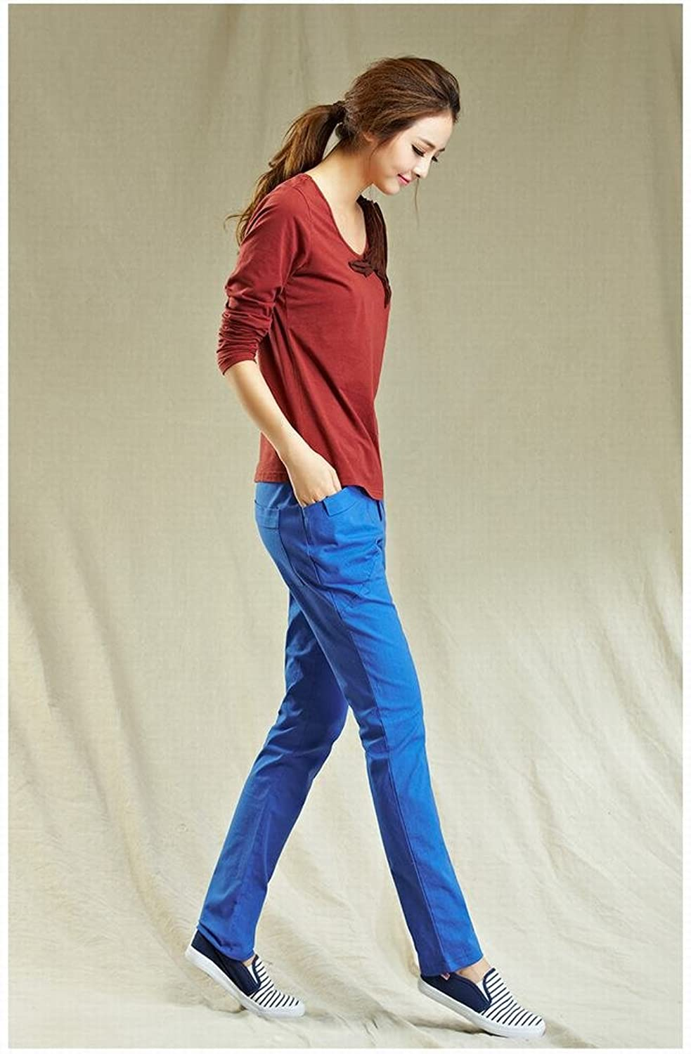 YUNY Womens Thin Slim Linen Trousers with Large Pockets