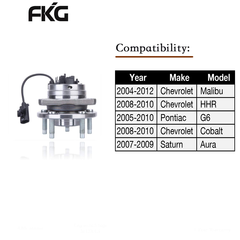 FKG 513214 Front Wheel Bearing & Hub Assembly w/ABS for - 06-12 Chevy  Malibu w/ABS - [05-10 Pontiac G6 w/ABS] - 07-09 Aura - 08-10 Cobalt SS/HHR  SS