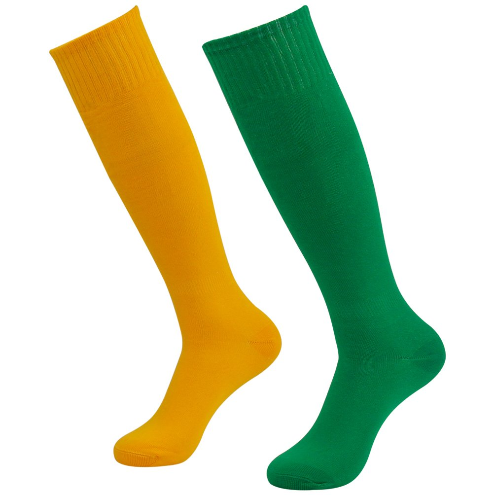 Getspor Long Sport Socks,Unisex Youth Soccer Football Volleyball Team Socks Costume Apperal, 2 Pairs(Yellow/Green) by Getspor