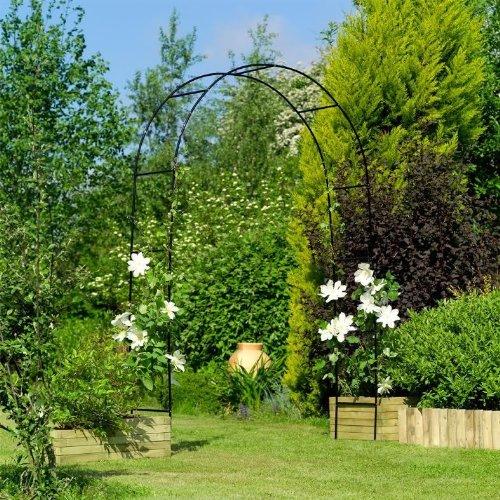 Green Metal Garden Arch Heavy Duty Strong Tubular Rose Climbing Plants  Archway