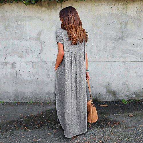 Sol Coton Sexy Femme Gris Robe Chemise Robe Plage Vintage Ete Robe Robe Chic de Cocktail Longue Couleur Soiree Maxi Dress au de Robe Party Prom Sundress Tunique Pure LEvifun wqaTIXq