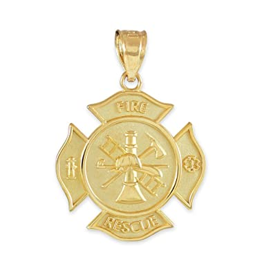 Amazon 10k yellow gold fire rescue maltese cross firefighter 10k yellow gold fire rescue maltese cross firefighter badge pendant mozeypictures Image collections