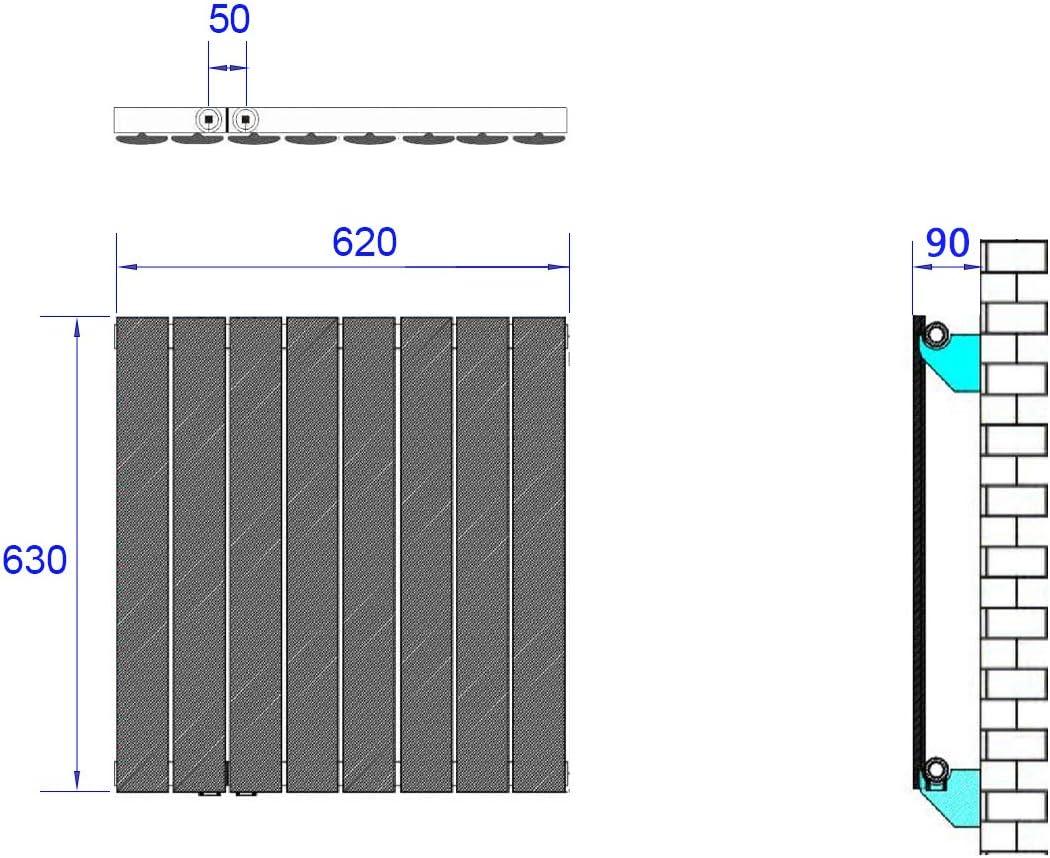 Designer Heizung Horizontal Anthrazit Seitenanschluss 1222 Watt Radiator Design Heizk/örper Doppellagig Wandheizk/örper Oval 600x770mm