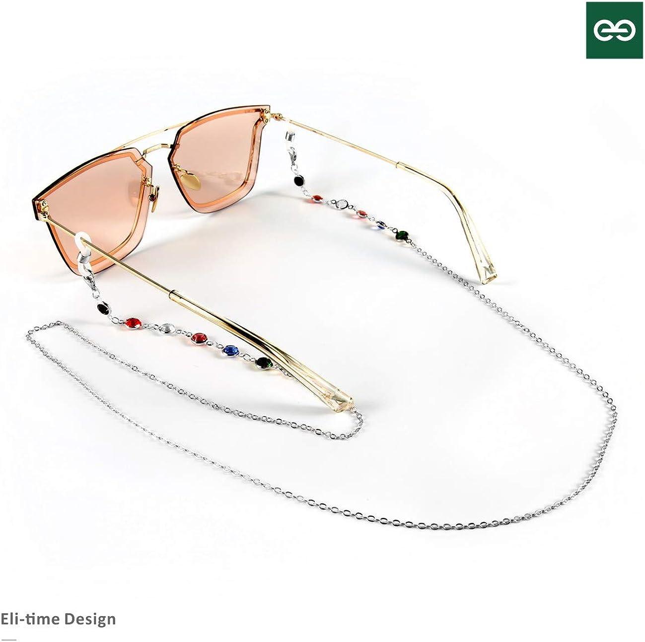 Eli-time Brillenketten f/ür Damen//Herren Bunte Glasschnur-Sonnenbrillen ketten//Brillenhalter//Brillenhalsketten mit rutschfesten Silikonenden f/ür Mehrfachanwendungen