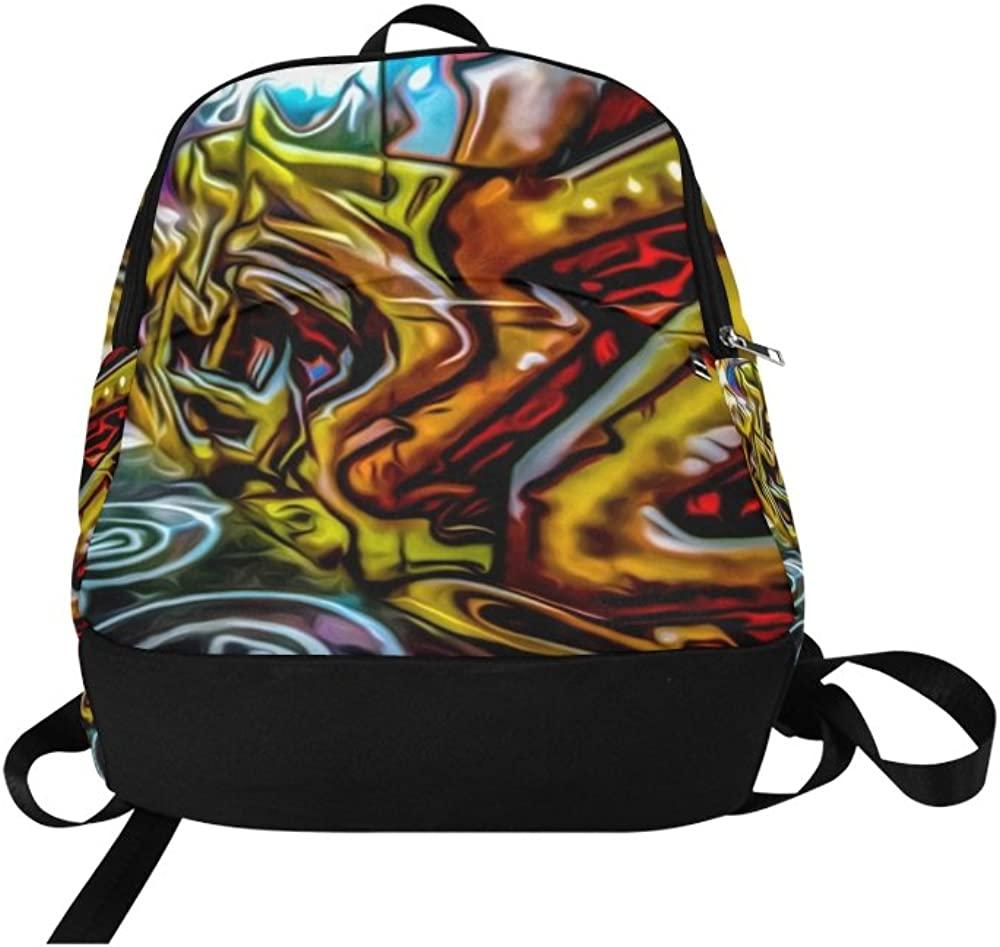 Paint Painting Image Design Abstract Expressionism Unique Custom Outdoor Shoulders Bag Fabric Backpack Multipurpose Daypacks For Adult