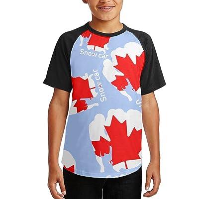 Snow Car Canadian Flag Girls Raglan Crew-Neck Athletic Shirts Short Sleeve T Shirts