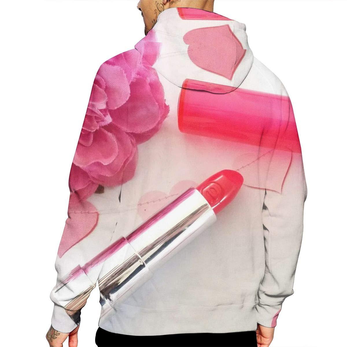 Red Flower Heart Lipstick Mans Long Sleeve Hoodie Casual Pocket Hooded Sweatshirt