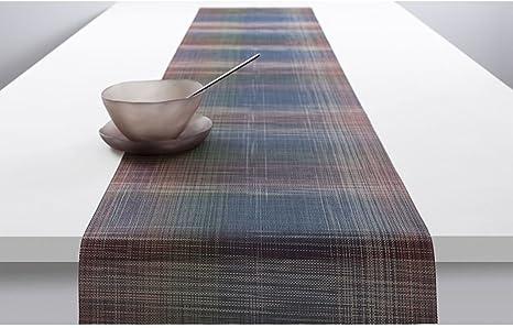 Amazon Com Chilewich Plaid Woven Vinyl Table Runner 14 X 72 Multi Home Kitchen