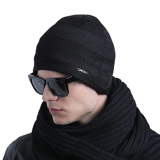 b011f3b32da CACUSS Mens Winter Wool Beanie Hat Warm Knit Hat Ski Cuff Beanie Thick  Fleece Lined Skull