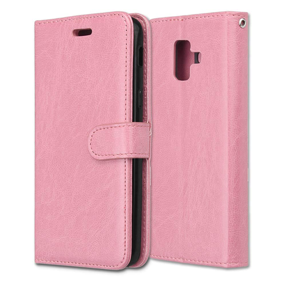 Luckyandery Galaxy A6 2018 Leather case,Galaxy A6 2018 Case Holster, Folio Stand 3 Card Slots Shockproof Protective Full Body with Wrist Strap Case for Samsung Galaxy A6 2018,Pink