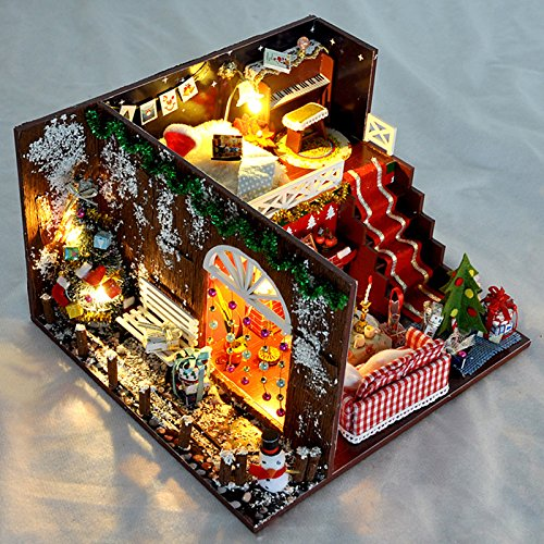 WYD 3D Christmas Carnival Night Miniature Handmade Wooden Assemble Dollhouse,Micro Landscape Model,Creative DIY Handmade Wooden House