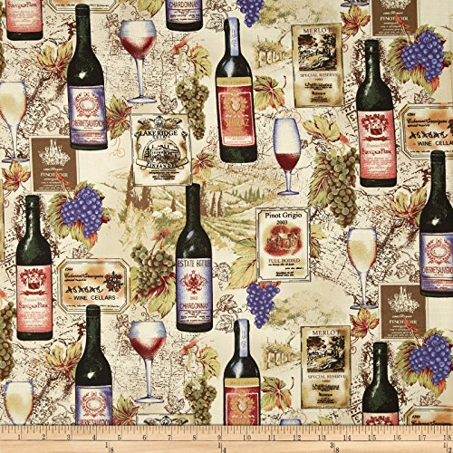 Robert Kaufman 0365158 Vineyard Collection Wine Collage Fabric by The Yard, Ivory