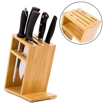 Bloque De Cuchillos De Bambú Sin Cuchillas De 6 Ranuras ...