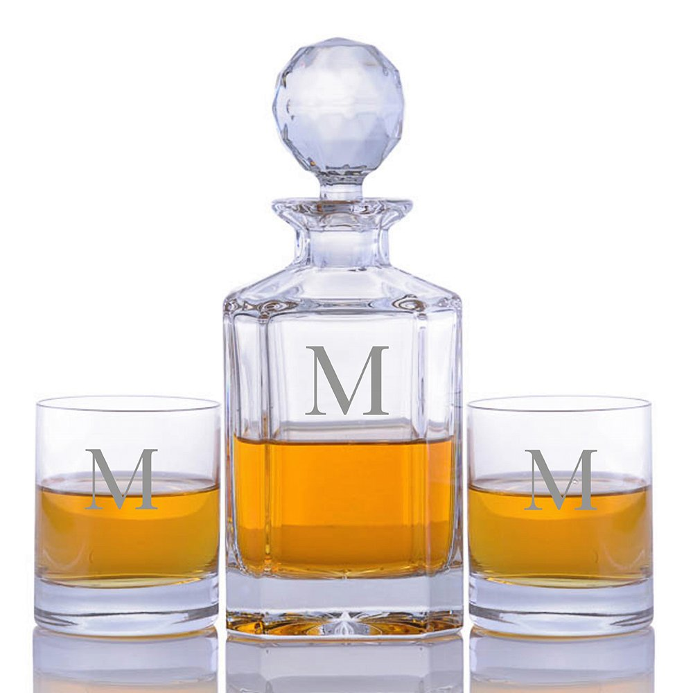 Personalized Crystal Whiskey Liquor Decanter Set with 2 Rocks Glasses by Crystalize Engraved & Monogrammed (Custom 3 Piece Set)