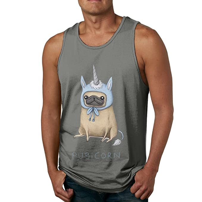 ea6877a5b Image Unavailable. Image not available for. Color: YUYU Men's Funny Pug  Unicorn Muscle Gym DeepHeather Tank ...