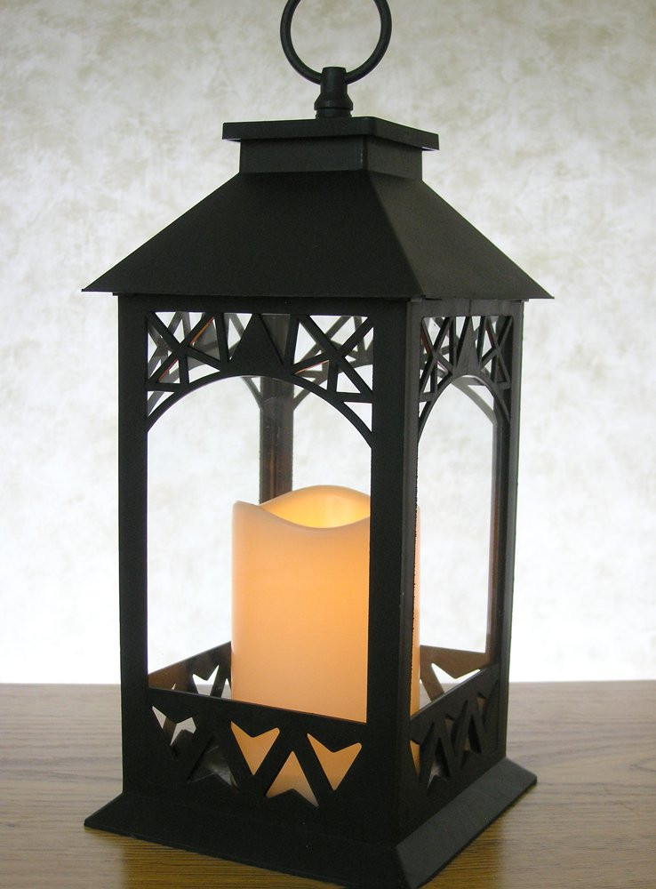 decorative lanterns black lantern with led pillar candle