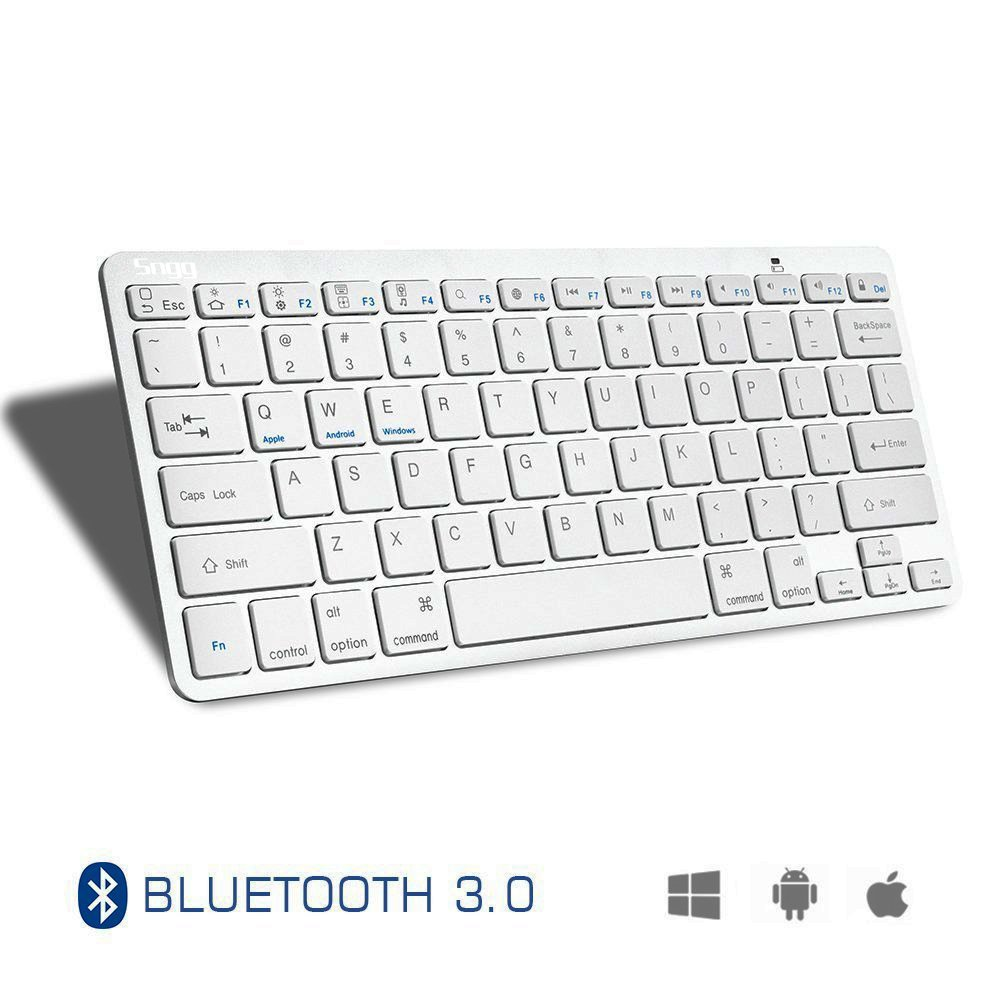 Sngg Wireless Bluetooth Keyboard, Universal Wireless Keyboard for iPad Air 2 / Air, iPad Pro, iPad mini 4 / 3 / 2 / 1, Galaxy Tabs and Other Mobile Devices(White) by Sngg (Image #2)