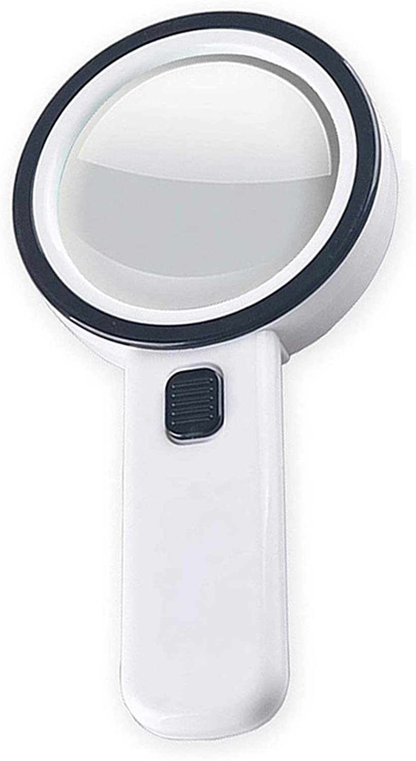 30X Handheld Magnifying Glass with Light, Jumbo Double Lens 12 LED Illuminated Magnifier for Seniors Reading, Coins, Exploring, Stamps, Map, Inspection, Jewelry, Macular Degeneration, Hobbies