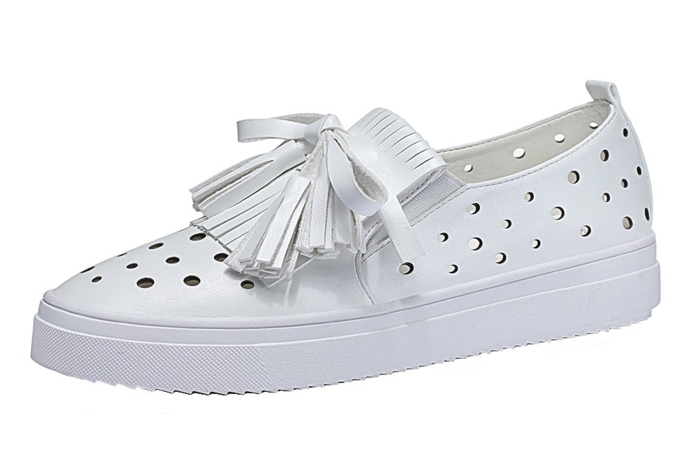 YASILAIYA Women's Tassels Breathable Sneakers Leather Openwork Loafer Flats White 8M US