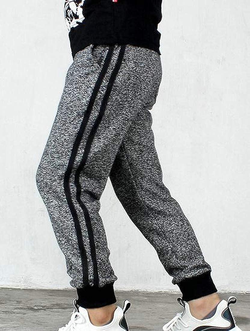 Cromoncent Big Boys Elastic Waist Cotton Athletic Sweatpants Stripe Pants