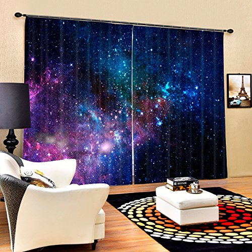 Ammybeddings Blackout Curtains,Purple 3D Galaxy and Stars Print Room Darkening Window Treatment Panel Drapes,Polyester Thermal Curtains,2 Panels,80W x 63L Inch,Purple Review